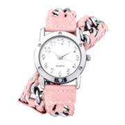 Decree® Womens Chain-Link Pink Strap Wrap Watch