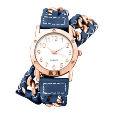 jcpenney.com | Decree® Womens Chain-Link Blue Strap Wrap Watch