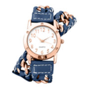 Decree® Womens Chain-Link Blue Strap Wrap Watch
