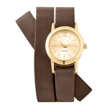 jcpenney.com | Decree® Womens Brown Strap Wrap Watch
