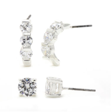 jcpenney.com | Sparkle Allure™ Cubic Zirconia Silver-Plated Brass Stud and Hoop Earring Set
