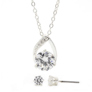 jcpenney.com | Sparkle Allure™ Cubic Zirconia Silver-Plated Brass Earring and Pendant Necklace Set