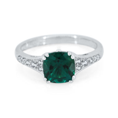 jcpenney.com | Cushion-Cut Lab-Created Emerald and White Sapphire Sterling Silver Ring
