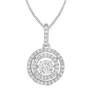 jcpenney.com | Love in Motion™ Round Lab-Created White Sapphire Double-Halo Pendant Necklace