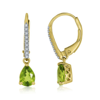 jcpenney.com | Pear-Shaped Genuine Peridot and Lab-Created White Sapphire Leverback Drop Earrings