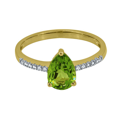 Pear-Shaped Genuine Peridot and Lab-Created White Sapphire Ring