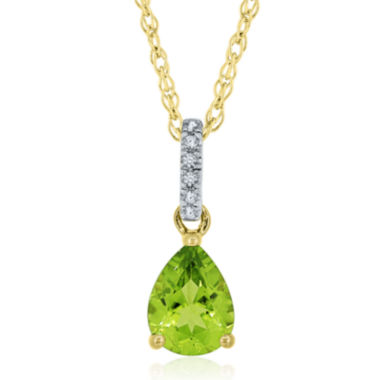 jcpenney.com | Pear-Shaped Genuine Peridot and Lab-Created White Sapphire Pendant Necklace