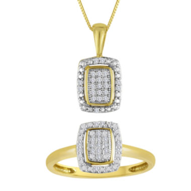 jcpenney.com | 1/10 CT. T.W. Diamond 10K Yellow Gold Pendant Necklace and Ring Set