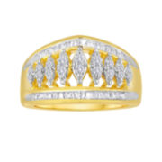 1/2 CT. T.W. Diamond 14K Yellow Gold Over Sterling Silver Ring