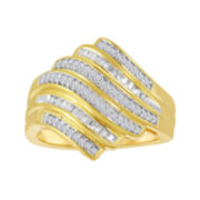 1/3 CT. T.W. Diamond 14K Yellow Gold Over Sterling Silver Wave Ring