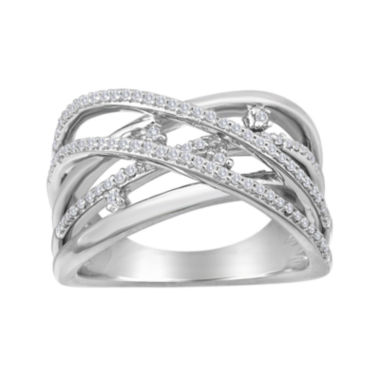 jcpenney.com | 1/4 CT. T.W. Diamond Sterling Silver Crossover Ring