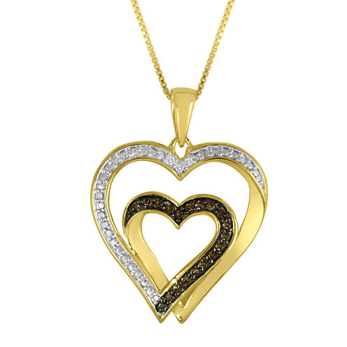 ForeverMine® 1/10 CT. T.W. White and Champagne Diamond Double-Heart Pendant Necklace