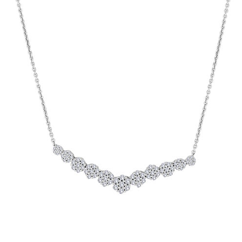diamond blossom 3/4 CT. T.W. Diamond Cluster V Necklace
