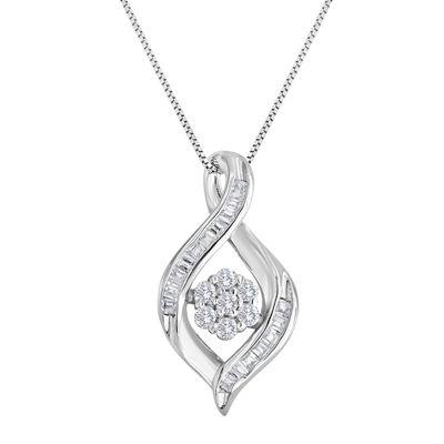 diamond blossom 1/5 CT. T.W. Diamond Cluster Sterling Silver Swirl Pendant Necklace