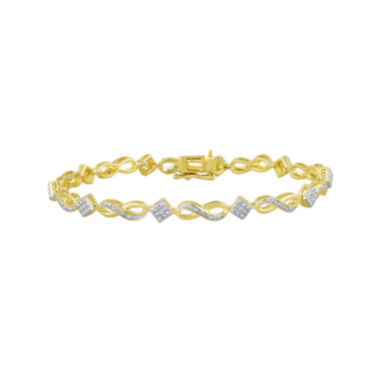 jcpenney.com | 1/10 CT. T.W. Diamond 14K Yellow Gold Over Sterling Silver Infinity Bracelet