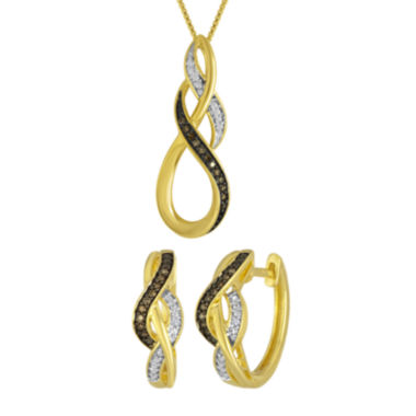 jcpenney.com | 1/10 CT. T.W. White and Champagne Diamond Infinity Earring and Pendant Necklace Set