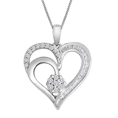 diamond blossom 1/4 CT. T.W. Diamond Cluster Sterling Silver Heart Pendant Necklace