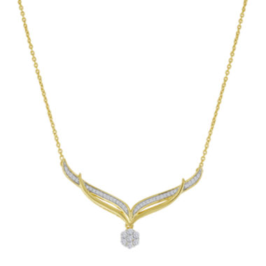 jcpenney.com | diamond blossom 1/4 CT. T.W. Diamond Cluster V Necklace