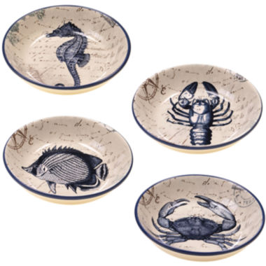 jcpenney.com | Certified International Coastal Postcards Set of 4 Pasta Bowls