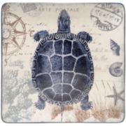 "Certified International Coastal Postcards 14½"" Square Platter"
