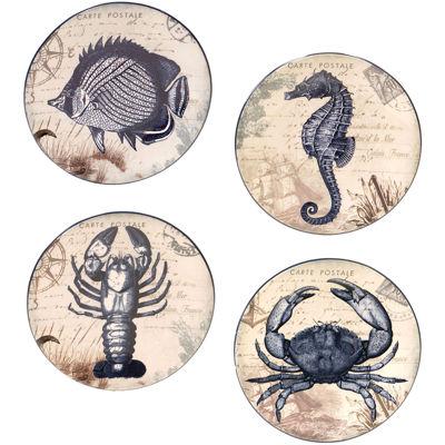 Certified International Coastal Postcards Set of 4 Canapé Plates