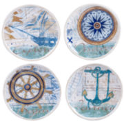 Certified International Mariner Set of 4 Canapé Plates