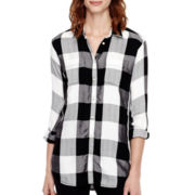 Stylus™ Long-Sleeve High-Low Plaid Tunic
