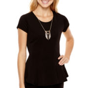by&by Cap-Sleeve Peplum Necklace Top