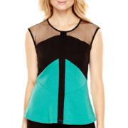 Worthington® Cap-Sleeve Sheer Colorblock Peplum Shirt