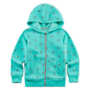 Okie Dokie® Heart-Print Fleece Hoodie - Toddler Girls 2t-5t