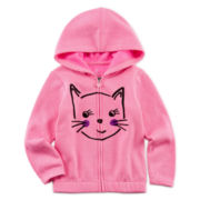 Okie Dokie® Puff-Print Fleece Hoodie - Toddler Girls 2t-5t