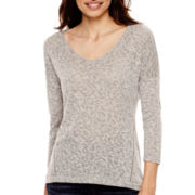 a.n.a® 3/4-Sleeve Textured Knit Top- Petite
