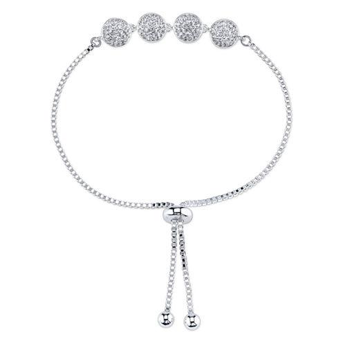 Sparkle Allure Crystal Silver Over Brass Bangle Bracelet
