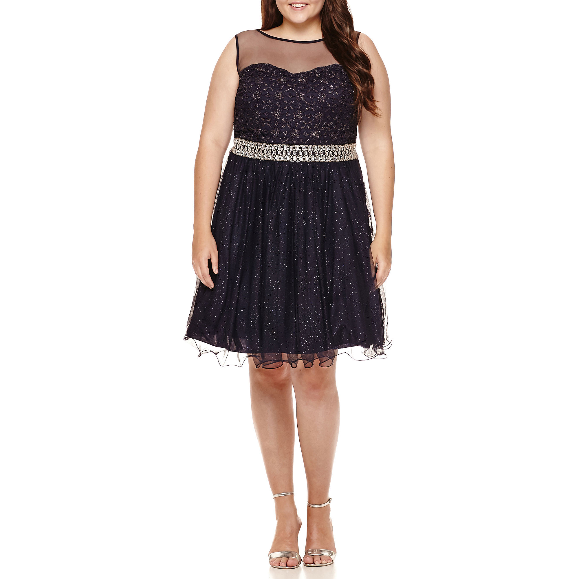 My Michelle Sleeveless Beaded-Trim Party Dress - Juniors Plus plus size,  plus size fashion plus size appare