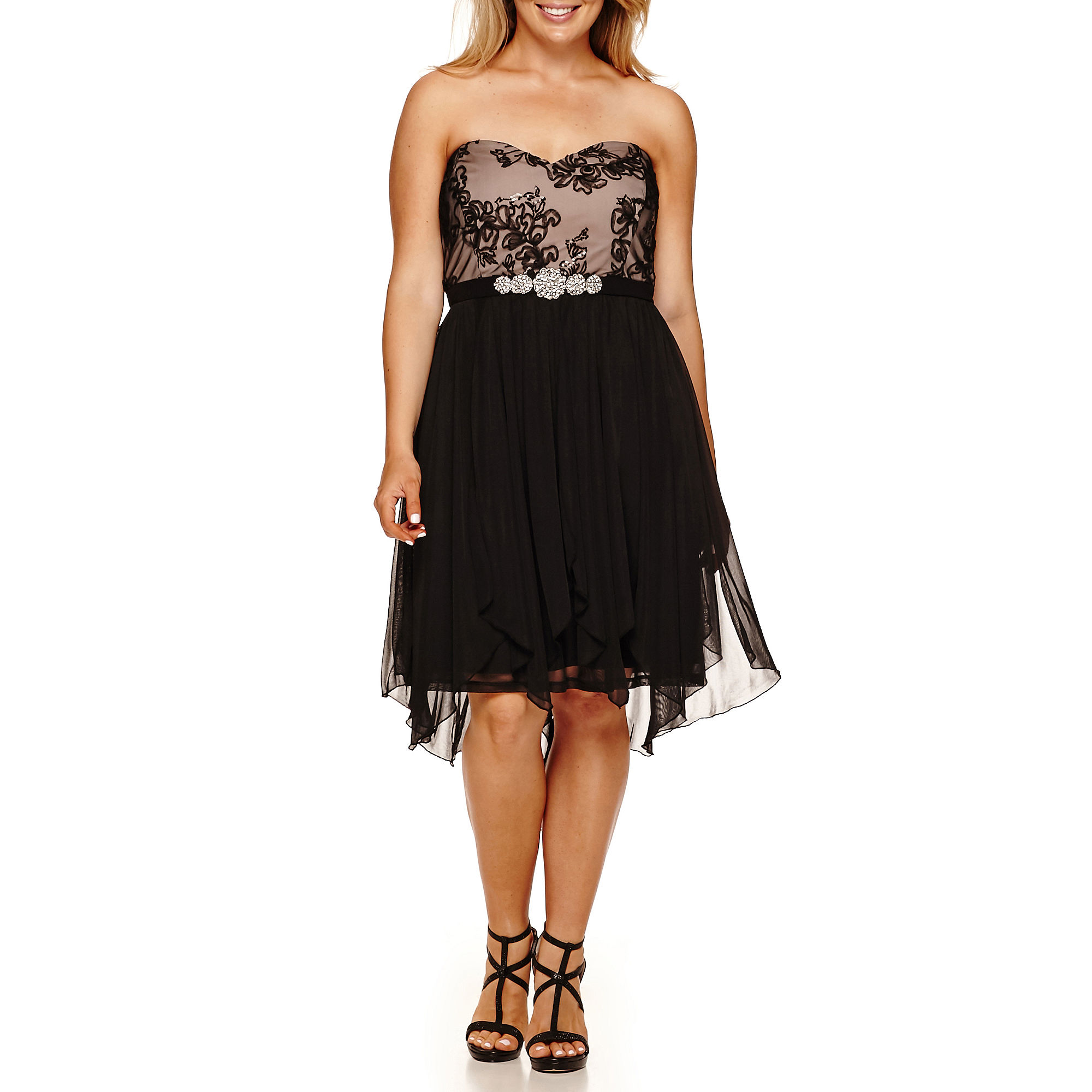 My Michelle Strapless Sequin-Bust High-Low Party Dress - Juniors Plus plus size,  plus size fashion plus size appare