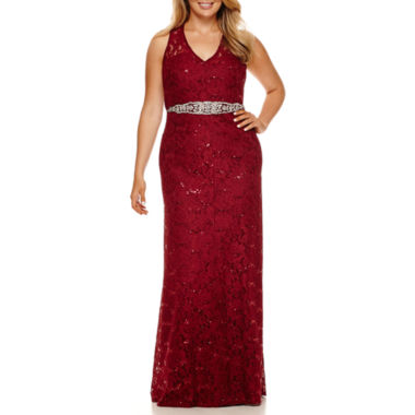 jcpenney.com | My Michelle® Sleeveless Sequin-Lace Long Slim Dress - Juniors Plus