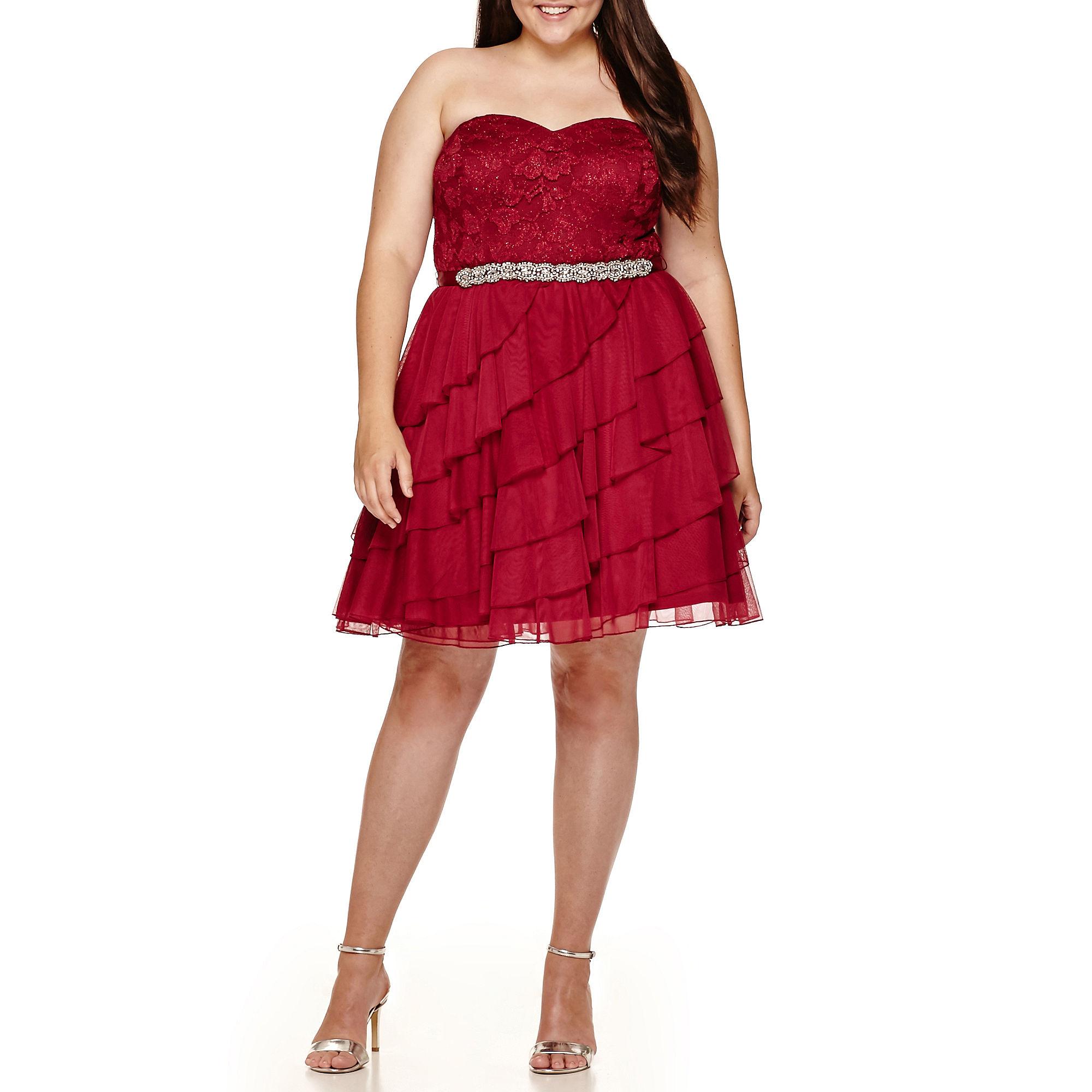 Love Reigns Strapless Tiered-Skirt Party Dress - Juniors Plus plus size,  plus size fashion plus size appare