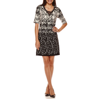 jcpenney.com | R&K Originals® Elbow-Sleeve Tie-Neck Shift Dress - Petite
