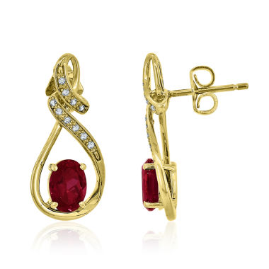 jcpenney.com | Red Ruby Gold Over Silver Drop Earrings