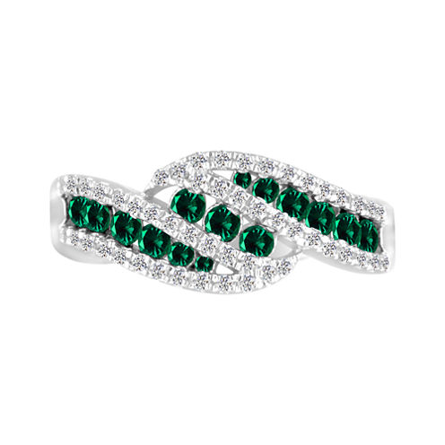 Sterling Silver Lab Created Emerald & Lab Created White Sapphire Ring
