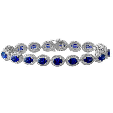 jcpenney.com | Lab Created Blue Sapphire & Diamond-Accent Sterling Silver Bracelet