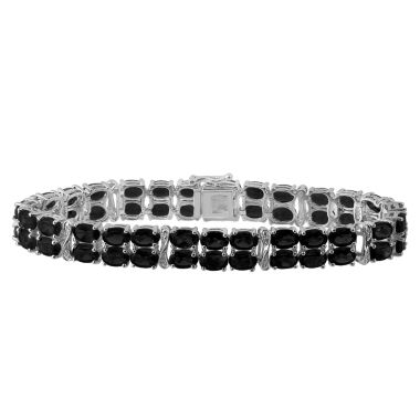jcpenney.com | Genuine Black Sapphire & Diamond-Accent Sterling Silver Bracelet