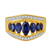 Blue Sapphire Gold Over Silver Cocktail Ring