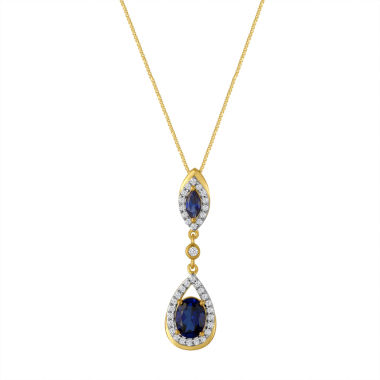 jcpenney.com | Lab Created Blue & White Sapphire 14K Gold Over Silver Pendant Necklace