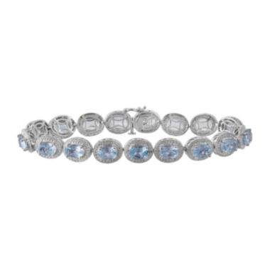 jcpenney.com | Genuine Blue Topaz & Diamond-Accent Sterling Silver Bracelet In Sterling Silver