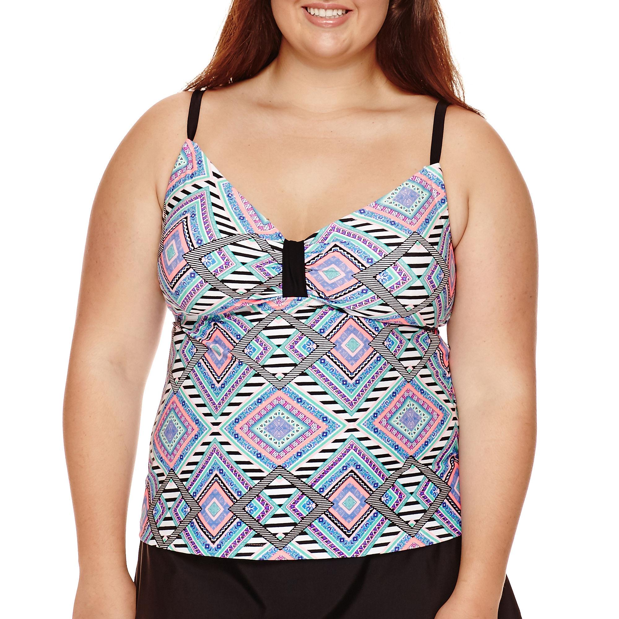 Arizona Diamond Fantasy Tankini Swim Top - Juniors Plus plus size,  plus size fashion plus size appare