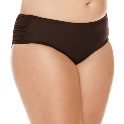 Arizona Black Solid Hipster Swim Bottoms - Juniors Plus