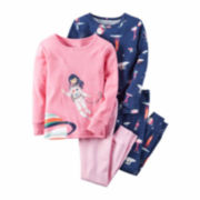 Carter's® 4-pc. Pink Navy Space Pajama Set - Girls 4-8