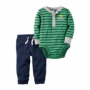 Carter's® 2-pc. Green Stripe Bodysuit Pants Set - Baby Boys newborn-24m