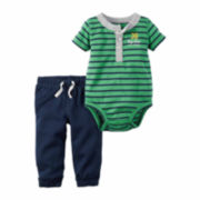 Carter's® 2-pc. Green Stripe Bodysuit and Pants Set - Baby Boys newborn-24m